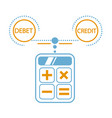 concept of calculation debit and credit vector image vector image