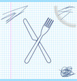 crossed fork and knife line sketch icon isolated vector image vector image