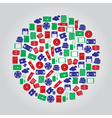 data storage media icons in color circle eps10 vector image vector image