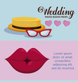 female lip with hat male and eyeglasses vector image