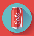 flat cola can soda can cola vector image vector image