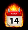 fourteenth march in calendar burning icon on vector image vector image