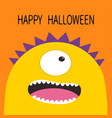 happy halloween card monster head with one eye vector image vector image
