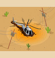 helicopter shot down composition vector image
