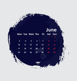 june 2019 calendar templatestarts from monday vector image