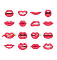 lips collection beautiful girl smiling kissing vector image vector image