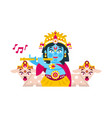 lord krishna sitting in the lotus position vector image