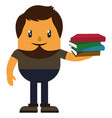 man with books on white background vector image vector image
