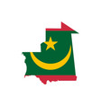 mauritania flag and map vector image vector image