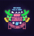 merry christmas and happy new year neon sign vector image vector image