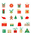 new year icons set of christmas elements vector image