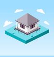 overwater bungalow in ocean isometric vector image vector image