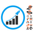 rocket startup bar chart icon with love bonus vector image vector image