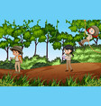 scene with kids exploring nature vector image vector image