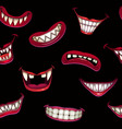 seamless pattern with creepy monster smiles on the vector image vector image