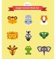 set of animal masks set 3 jungle animals vector image