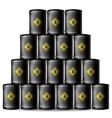 Set of Black Metal Oil Barrels vector image