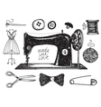 Set of hand drawn sewing handcraft vintage vector image