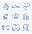set outline stroke fitness icons vector image