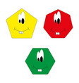 seth facial cheeks in yellow red and green on a vector image