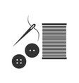 sewing needle with thread glyph icon vector image vector image