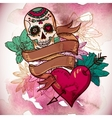 Skull Hearts and Flowers vector image vector image