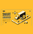 smart logistics isometric landing page vector image
