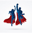 superhero man and woman jumping team work graphic vector image vector image
