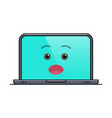 surprised laptop computer isolated emoticon vector image vector image