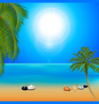 tropical sunny beach with palm trees vector image vector image