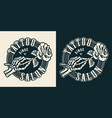 vintage tattoo studio monochrome round emblem vector image vector image