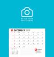 wall calendar planner for 2019 year december vector image