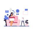 webinar online education concept cartoon woman vector image vector image