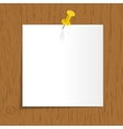 White reminder with pin on wooden background vector image vector image