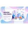 winter holidays flat banner template vector image vector image