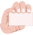 hand holding business card vector image