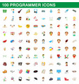 100 programmer icons set cartoon style vector image