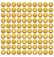 100 woman shopping icons set gold vector image vector image