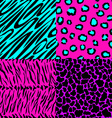 animal skin seamless patterns in bright colors vector image vector image