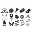 bbq vintage emblem set barbeque retro icons vector image