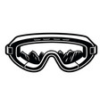 black and white a ski glasses vector image vector image
