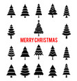 black silhouettes of christmas trees vector image vector image