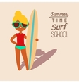 blonde surfing girl vector image vector image