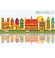 Brussels Skyline with Color Buildings vector image vector image
