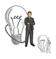 businessman holding idea nozzle from a big bulb vector image