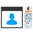 Call Center Manager Calendar Page Flat Icon vector image vector image