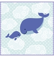 Card with cute whales in clouds on blue dotted vector image