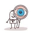 cartoon businessman with big magnifying eye vector image