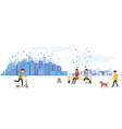 city park with various people having on leisure vector image