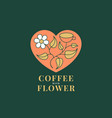 coffee with flower abstract trendy sign vector image vector image